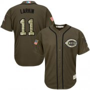 Wholesale Cheap Reds #11 Barry Larkin Green Salute to Service Stitched Youth MLB Jersey