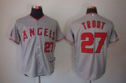 Wholesale Angels of Anaheim #27 Mike Trout Grey Cool Base Stitched Baseball Jersey