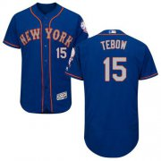 Wholesale Cheap Mets #15 Tim Tebow Blue(Grey NO.) Flexbase Authentic Collection Stitched MLB Jersey