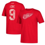 Wholesale Cheap Detroit Red Wings #9 Gordie Howe CCM Retired Player Name & Number T-Shirt Red