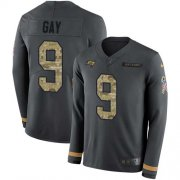 Wholesale Cheap Nike Buccaneers #9 Matt Gay Anthracite Salute to Service Men's Stitched NFL Limited Therma Long Sleeve Jersey