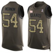 Wholesale Cheap Nike Giants #54 Olivier Vernon Green Men's Stitched NFL Limited Salute To Service Tank Top Jersey
