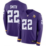 Wholesale Cheap Nike Vikings #22 Harrison Smith Purple Team Color Youth Stitched NFL Limited Therma Long Sleeve Jersey