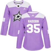 Cheap Adidas Stars #35 Anton Khudobin Purple Authentic Fights Cancer Women's Stitched NHL Jersey