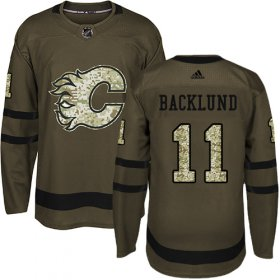 Wholesale Cheap Adidas Flames #11 Mikael Backlund Green Salute to Service Stitched Youth NHL Jersey