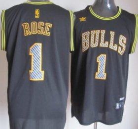 Wholesale Cheap Chicago Bulls #1 Derrick Rose Black Electricity Fashion Jersey