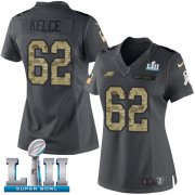 Wholesale Cheap Nike Eagles #62 Jason Kelce Black Super Bowl LII Women's Stitched NFL Limited 2016 Salute to Service Jersey