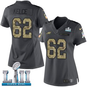 Wholesale Cheap Nike Eagles #62 Jason Kelce Black Super Bowl LII Women\'s Stitched NFL Limited 2016 Salute to Service Jersey