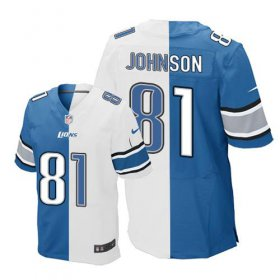 Wholesale Nike Lions #81 Calvin Johnson Blue/White Men\'s Stitched NFL Elite Split Jersey