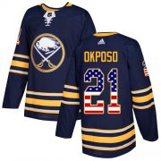 Wholesale Cheap Adidas Sabres #21 Kyle Okposo Navy Blue Home Authentic USA Flag Youth Stitched NHL Jersey