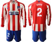 Wholesale Atletico Madrid #2 Godin Home Long Sleeves Soccer Club Jersey