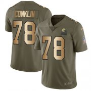 Wholesale Cheap Nike Browns #78 Jack Conklin Olive/Gold Youth Stitched NFL Limited 2017 Salute To Service Jersey