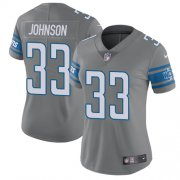 Wholesale Cheap Nike Lions #33 Kerryon Johnson Gray Women's Stitched NFL Limited Rush Jersey