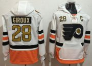 Wholesale Cheap Flyers #28 Claude Giroux White 3rd Name & Number Pullover NHL Hoodie