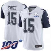 Wholesale Cheap Nike Cowboys #15 Devin Smith White Men's Stitched With Established In 1960 Patch NFL Limited Rush 100th Season Jersey