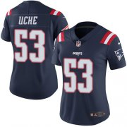 Wholesale Cheap Nike Patriots #53 Josh Uche Navy Blue Women's Stitched NFL Limited Rush Jersey