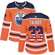 Wholesale Cheap Adidas Oilers #33 Cam Talbot Orange Home Authentic USA Flag Women's Stitched NHL Jersey