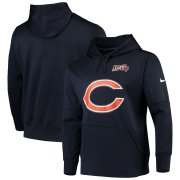 Wholesale Cheap Chicago Bears Nike 100th Season Primary Logo Circuit Performance Pullover Hoodie Navy