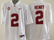 Wholesale Cheap Men's Alabama Crimson Tide #2 Derrick Henry White 2015 NCAA Football Nike Limited Jersey