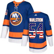Wholesale Cheap Adidas Islanders #54 Oliver Wahlstrom Royal Blue Home Authentic USA Flag Stitched NHL Jersey