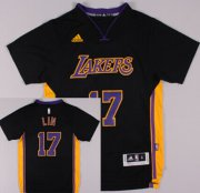 Wholesale Cheap Los Angeles Lakers #17 Jeremy Lin Revolution 30 Swingman 2014 New Black With Purple Short-Sleeved Jersey