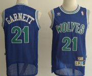 Wholesale Cheap Minnesota Timberwolves #21 Kevin Garnett Blue Swingman Throwback Jersey