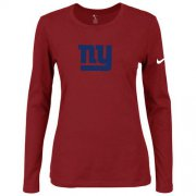 Wholesale Cheap Women's Nike New York Giants Of The City Long Sleeve Tri-Blend NFL T-Shirt Red-2