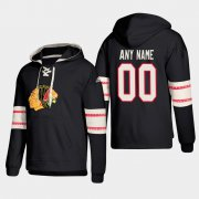 Wholesale Cheap Chicago Blackhawks Personalized Lace-Up Pullover Hoodie Black