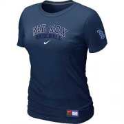Wholesale Cheap Women's Boston Red Sox Nike Short Sleeve Practice MLB T-Shirt Midnight Blue