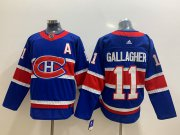 Wholesale Cheap Men's Montreal Canadiens #11 Brendan Gallagher Blue Adidas 2020-21 Alternate Authentic Player NHL Jersey