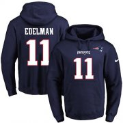 Wholesale Cheap Nike Patriots #11 Julian Edelman Navy Blue Name & Number Pullover NFL Hoodie