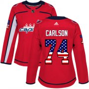Wholesale Cheap Adidas Capitals #74 John Carlson Red Home Authentic USA Flag Women's Stitched NHL Jersey