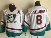 Wholesale Cheap Ducks #8 Teemu Selanne White CCM Throwback Youth Stitched NHL Jersey