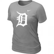 Wholesale Cheap Women's Detroit Tigers Heathered Nike Light Grey Blended T-Shirt