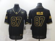 Wholesale Cheap Men's Kansas City Chiefs #87 Travis Kelce Black Gold 2020 Salute To Service Stitched NFL Nike Limited Jersey