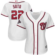 Wholesale Cheap Washington Nationals #22 Juan Soto Majestic Women's 2019 World Series Champions Home Cool Base Patch Player Jersey White