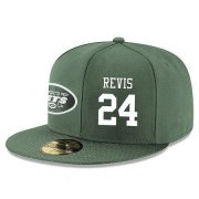 Wholesale Cheap New York Jets #24 Darrelle Revis Snapback Cap NFL Player Green with White Number Stitched Hat