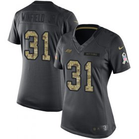 Wholesale Cheap Nike Buccaneers #31 Antoine Winfield Jr. Black Women\'s Stitched NFL Limited 2016 Salute to Service Jersey