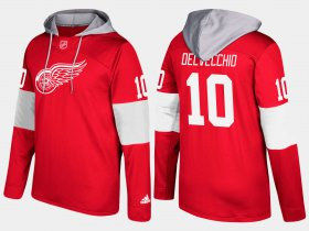 Wholesale Cheap Red Wings #10 Alex Delvecchio Red Name And Number Hoodie