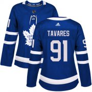Wholesale Cheap Adidas Maple Leafs #91 John Tavares Blue Home Authentic Women's Stitched NHL Jersey