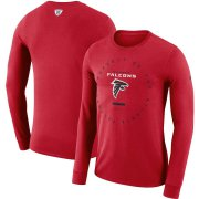 Wholesale Cheap Atlanta Falcons Nike Property Of Sideline Performance Long Sleeve T-Shirt Red