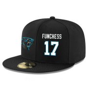 Wholesale Cheap Carolina Panthers #17 Devin Funchess Snapback Cap NFL Player Black with White Number Stitched Hat