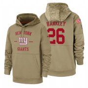 Wholesale Cheap New York Giants #26 Saquon Barkley Nike Tan 2019 Salute To Service Name & Number Sideline Therma Pullover Hoodie