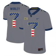 Wholesale Cheap West Virginia Mountaineers 7 Daryl Worley Gray USA Flag College Football Jersey