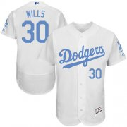 Wholesale Cheap Dodgers #30 Maury Wills White Flexbase Authentic Collection Father's Day Stitched MLB Jersey