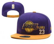 Wholesale Cheap Men's Los Angeles Lakers #23 LeBron James Purple Snapback Ajustable Cap Hat 2