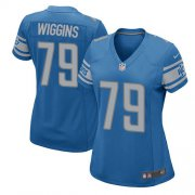 Wholesale Cheap Nike Lions #79 Kenny Wiggins Light Blue Team Color Women's Stitched NFL Elite Jersey