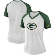 Wholesale Cheap Women's Green Bay Packers Nike White-Green Top V-Neck T-Shirt
