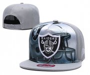 Wholesale Cheap Raiders Team Logo Gray Adjustable Leather Hat TX