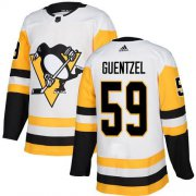 Wholesale Cheap Adidas Penguins #59 Jake Guentzel White Road Authentic Stitched NHL Jersey